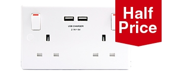 White 13A 2G s/socket with 2 X USB