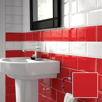 Bevelled Edge Red Gloss Ceramic