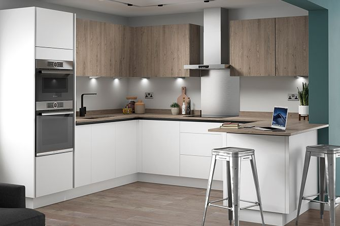 Eton Matt White True Handleless Kitchen Range