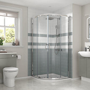 Wickes Semi Frameless Quadrant Shower Enclosure with Tray 900mm
