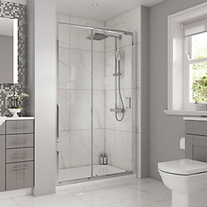 Wickes Semi Frameless Rectangular Enclosure with Shower Tray 1000mm