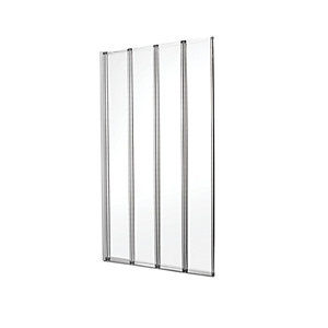 Wickes Four Fold Bath Screen Silver Effect Frame