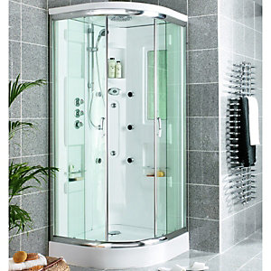 Wickes Quadrant Shower Cabin With Monsoon Fixed Head & Roof 900mm