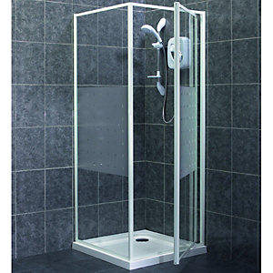 Wickes Pivot Shower Door & Side Panel White Frame 760mm