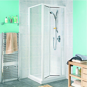 Wickes Bi-Fold Shower Door and Side Panel Enclosure White Frame 760mm