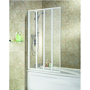 Wickes Four Fold Bath Screen White Effect Frame