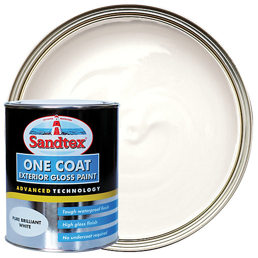 Sandtex 1 coat exterior gloss pure brilliant white 750ml - Exterior white gloss paint image ...