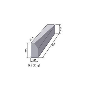 Concrete Left Hand Drop Kerb Half Battered 125mm x 255mm To Bull Nosed 125mm x 150mm