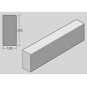 BS Concrete Kerb Bull Nosed  Bull Nose RK0350000 125mm x 255mm x 915mm
