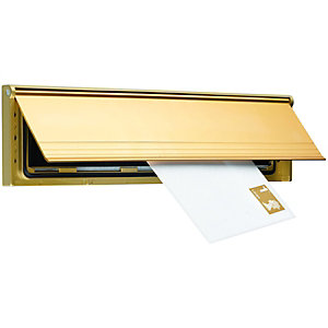 Wickes Internal Letter Box Draught Excluder with Flap Gold Effect 75 x 292mm