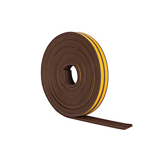 Wickes E Profile Rubber Draught Seal Brown 10m