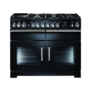 Rangemaster Excel 110 Dual Fuel Cooker Black & Chrome