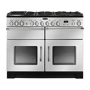 Rangemaster Excel 110 Dual Fuel Cooker Silver & Chrome