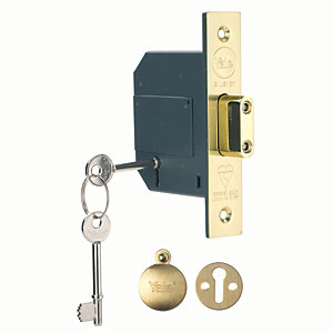 Yale P-M562-PB-67 5 Lever British Standard Deadlock 64mm Brass