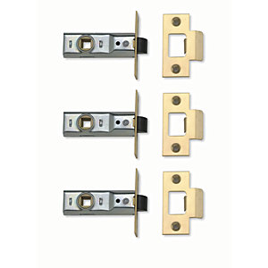 Yale P-M888-PB-64-3 Tubular Latch Brass 64mm Pack 3