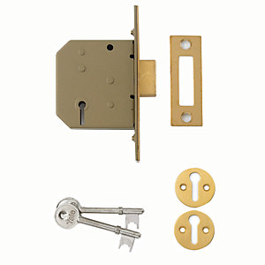 Yale P-M322-PB-65 3 Lever Deadlock 64mm Brass
