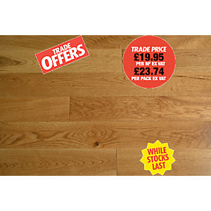 4Trade Solid Natural Oak Lacquered Flooring FSC 83x18mm 1.19m²