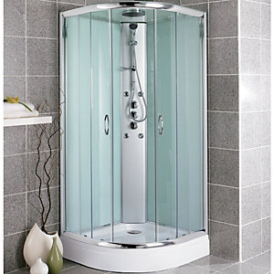 Wickes Quadrant Shower Cabin With Opaque Panels, Monsoon Fixed Head & Roof 900mm