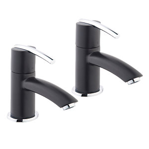 Wickes Versaille Basin Taps Black