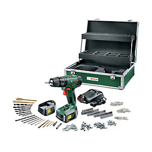 Bosch 18V Li-ion Cordless Combi Drill with 2 Batteries & 241 Accessory Kit PSB 1800 Li-2