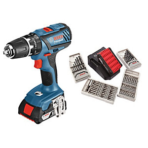 Bosch GSB 18-2-LI 18V Combi Drill 2 x 2AH Battery & 63 Piece Accessory Set Included