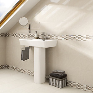 Wickes Replica Wall Tile Ivory 250 x 500mm