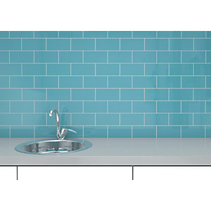 Wickes Cosmopolitan Gloss Duck Egg Ceramic Wall Tile 100 x 200mm