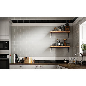 Wickes Cosmopolitan Gloss Grey Ceramic Wall Tile 100x200mm