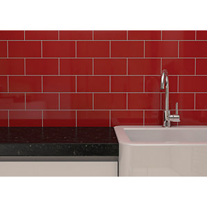 Wickes Cosmopolitan Gloss Red Ceramic Wall Tile 100 x 200mm