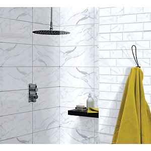 Wickes Herston Calacatta Gloss Brick Ceramic Wall Tile 248x498mm