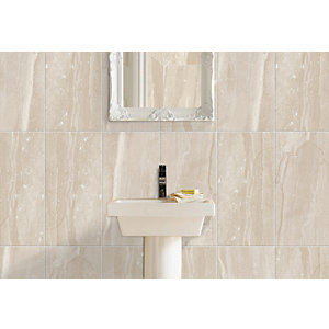 Wickes Newton Beige Gloss Ceramic Wall Tile 248x498mm