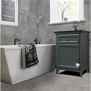 Wickes Battersea Geo Decor Grey Ceramic Wall Tile 298x498mm