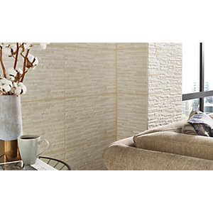 Wickes Battersea Splitface White Ceramic Wall Tile 298x498mm