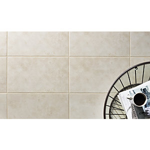 Wickes Battersea Geo Decor White Ceramic Wall Tile 298x498mm