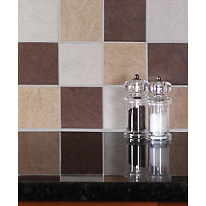 Wickes Elena Chocolate 10x10cm Ceramic Wall Tile 100x100mm