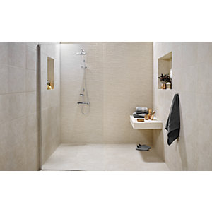 Wickes Mayfield Beige 300 x 600mm Ceramic Floor & Wall Tile PK6