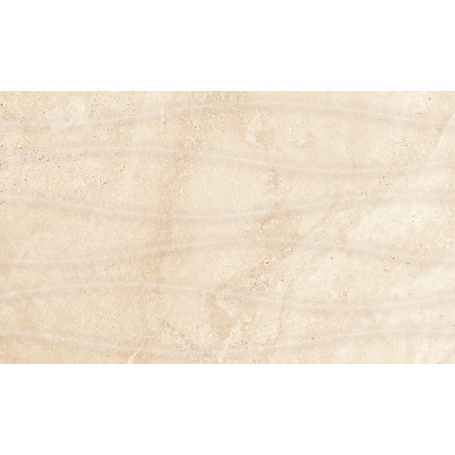 Tumbled Noce Stone Effect Travertine Wall Tile Pack Of 15: Wickes Replica Travertine Effect Wave Ivory 300 X 500mm