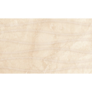 Wickes Replica Travertine Effect Wave Ivory 300 x 500mm Ceramic Floor & Wall Tile