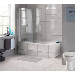 Wickes Replica Travertine Effect Wave Grey 300 x 500mm Ceramic Floor & Wall Tile