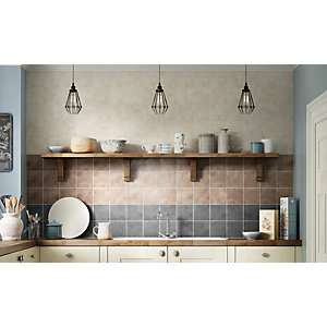 Wickes Tuscan Rustic Brown Satin Ceramic Wall Tile 148x148mm