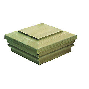 Wickes Timber Newel Post Slipover Cap 135 x 135 x 62mm Green