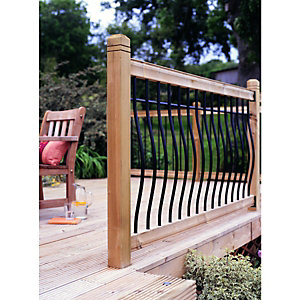 Wickes Tuscany Deck Railing Kit 952 x 1816mm Black