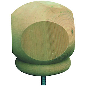 Wickes Squared Deck Post Ball 77 x 77 x 93mm Green