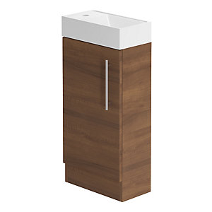 Bemod Form Floorstanding Hand Basin Unit Walnut F40FS 400mm