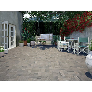 Wickes Modular Stone Effect Grey Porcelain Floor Tile 436x436mm