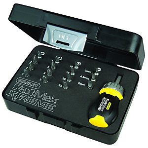 Stanley Fatmax XL Stubby Ratchet Screwdriver With 15 Bit Set