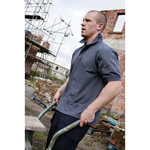 Scruffs Worker Polo T-shirt Grey Marl