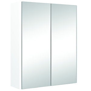 Wickes Bathroom Semi-frameless Double Mirror Cabinet White 500mm