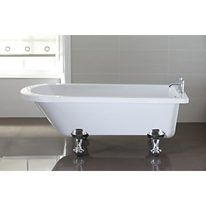 Wickes Decadent Single Ended Roll Top Bath White 1700mm
