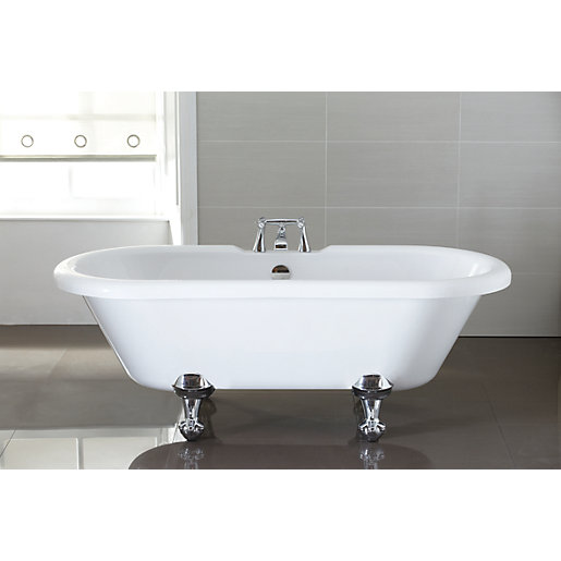 Wickes Decadent Double Ended Roll Top Bath White 1720mm